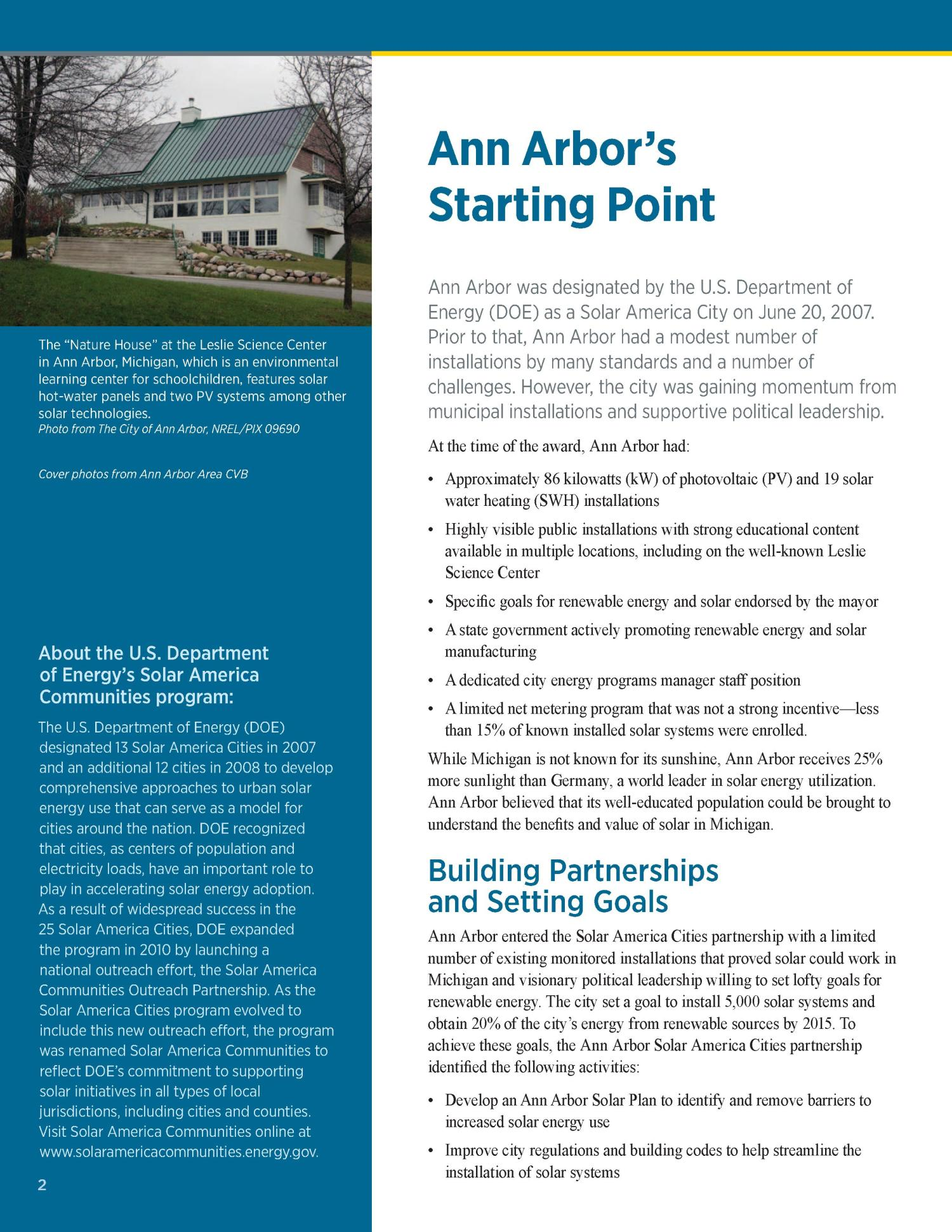 Ann Arbor, Michigan: Solar in Action (Brochure)                                                                                                      [Sequence #]: 2 of 8