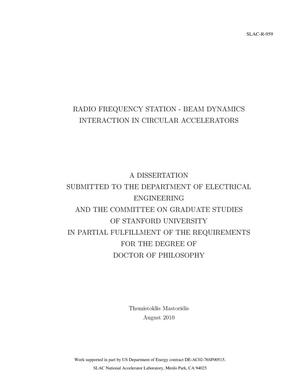 Primary view of object titled 'Radio Frequency Station - Beam Dynamics Interaction in Circular Accelerators'.