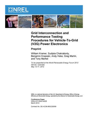 Primary view of object titled 'Grid Interconnection and Performance Testing Procedures for Vehicle-To-Grid (V2G) Power Electronics: Preprint'.
