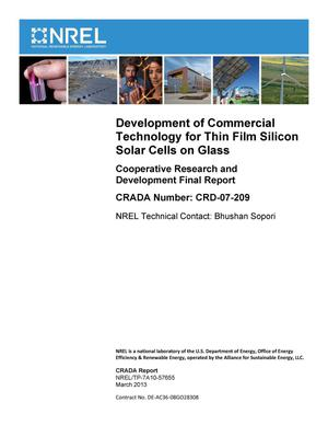 Primary view of object titled 'Development of Commercial Technology for Thin Film Silicon Solar Cells on Glass: Cooperative Research and Development Final Report, CRADA Number CRD-07-209'.