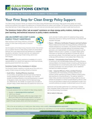 Primary view of object titled 'Your First Stop for Clean Energy Policy Support (Fact Sheet)'.