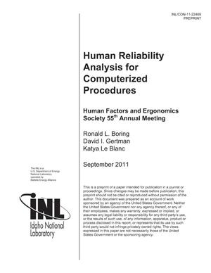 Primary view of object titled 'HUMAN RELIABILITY ANALYSIS FOR COMPUTERIZED PROCEDURES'.