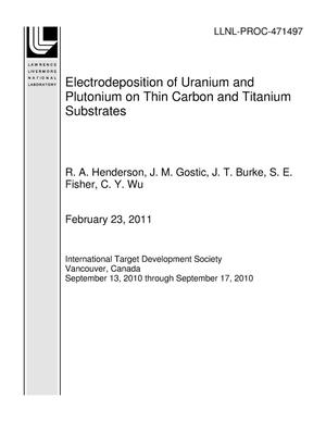 Primary view of object titled 'Electrodeposition of Uranium and Plutonium on Thin Carbon and Titanium Substrates'.