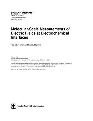 Primary view of object titled 'Molecular-scale measurements of electric fields at electrochemical interfaces.'.