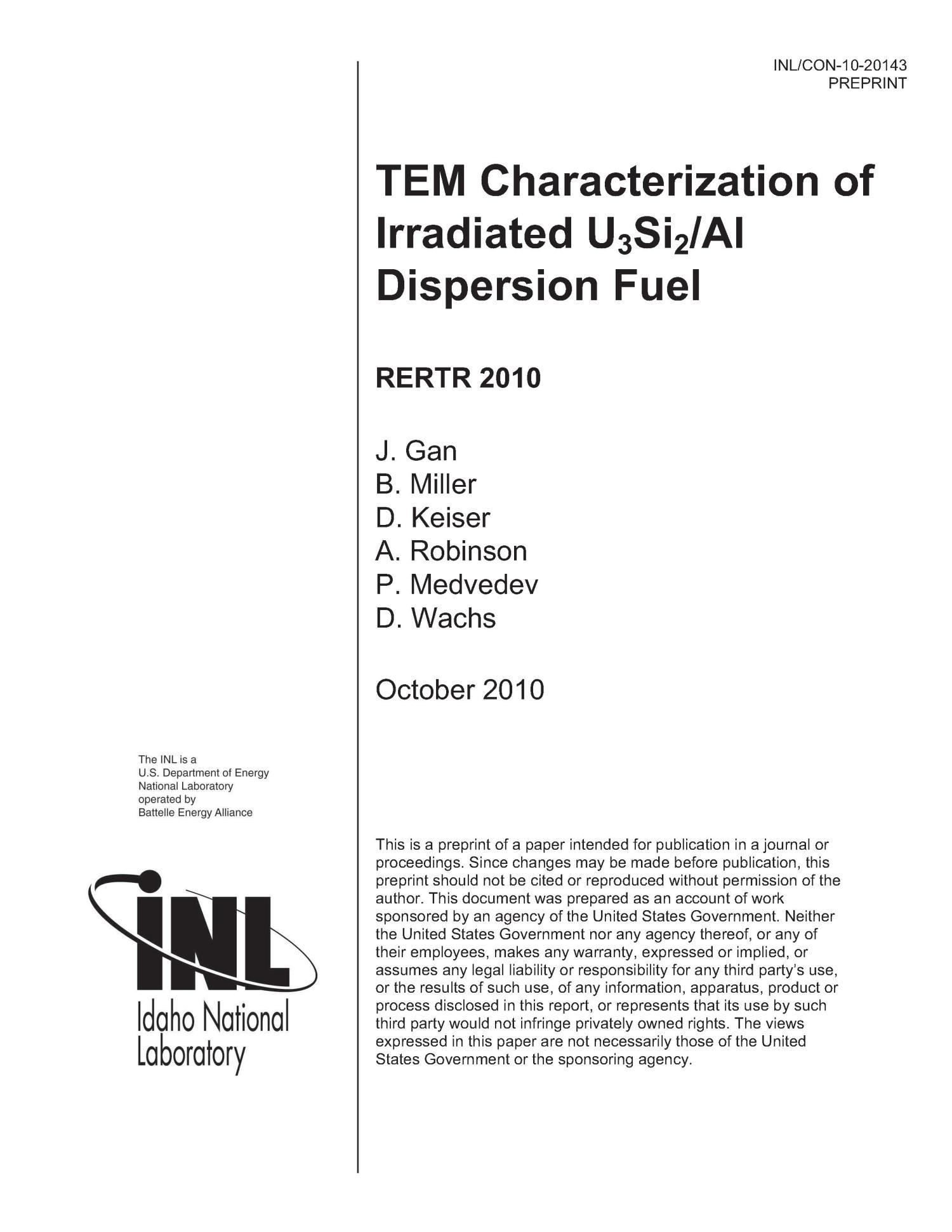 TEM CHARACTERIZATION OF IRRADIATED U3SI2/AL DISPERSION FUEL - Digital Library