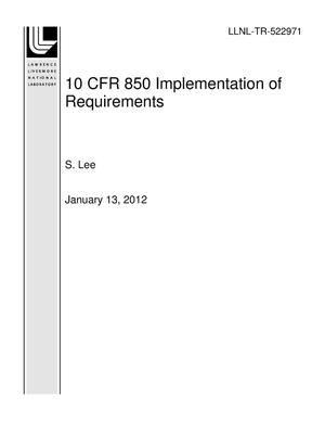 Primary view of object titled '10 CFR 850 Implementation of Requirements'.