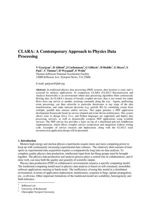 Primary view of object titled 'CLARA: A Contemporary Approach to Physics Data Processing'.