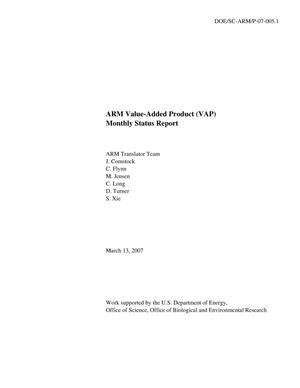 Primary view of object titled 'ARM Value-Added Product (VAP) Monthly Status Report (March 2007)'.