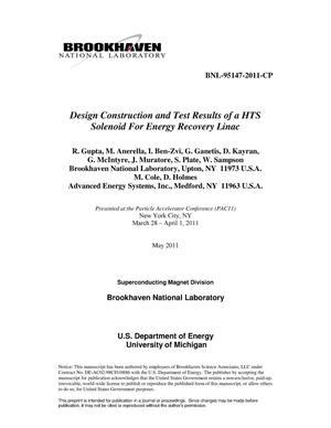 Primary view of object titled 'Design Construction and Test Results of a HTS Solenoid For Energy Recovery Linac'.