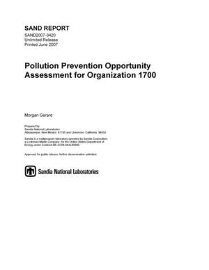 Primary view of object titled 'Pollution prevention opportunity assessment for organization 1700.'.