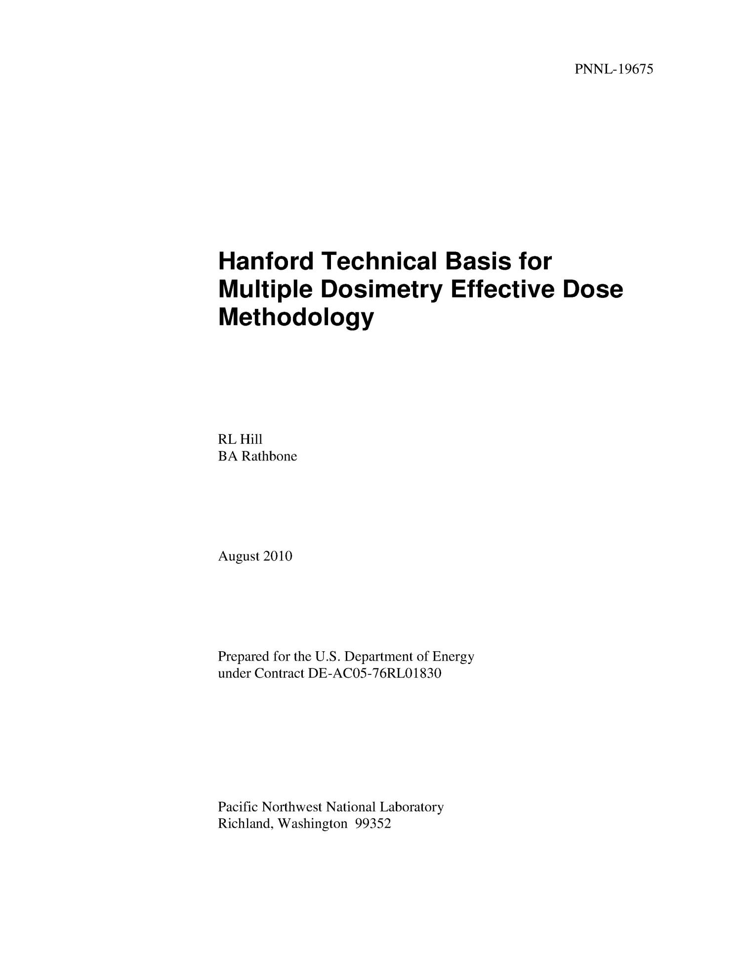 Hanford Technical Basis for Multiple Dosimetry Effective Dose Methodology                                                                                                      [Sequence #]: 3 of 15