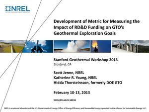 Primary view of object titled 'Development of Metric for Measuring the Impact of RD&D Funding on GTO's Geothermal Exploration Goals (Presentation)'.