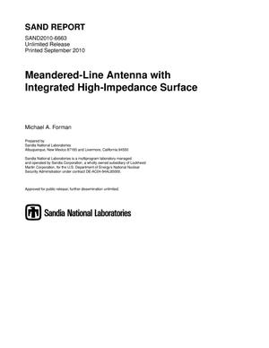 Primary view of object titled 'Meandered-line antenna with integrated high-impedance surface.'.