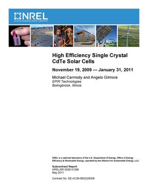 Primary view of object titled 'High Efficiency Single Crystal CdTe Solar Cells: November 19, 2009 - January 31, 2011'.