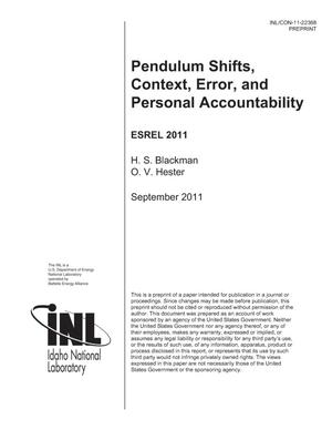 Primary view of object titled 'Pendulum Shifts, Context, Error, and Personal Accountability'.