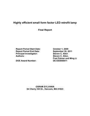 Primary view of object titled 'Highly Efficient Small Form Factor LED Retrofit Lamp'.