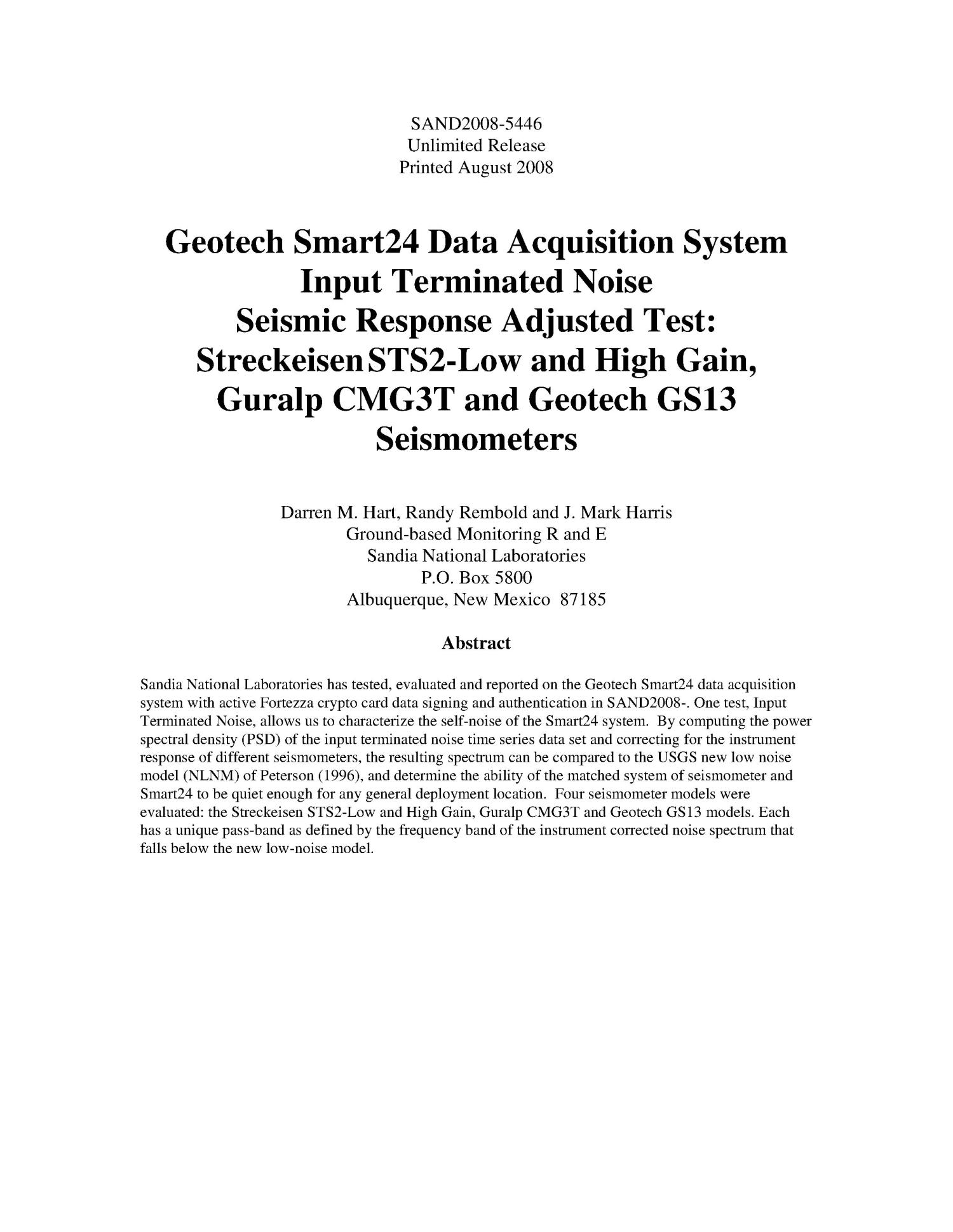 Geotech Smart24 data acquisition system input terminated noise seismic response adjusted test : StreckeisenSTS2-low and high gain, Guralp CMG3T and Geotech GS13 seismometers.                                                                                                      [Sequence #]: 3 of 30