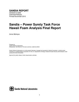 Primary view of object titled 'Sandia-Power Surety Task Force Hawaii foam analysis.'.