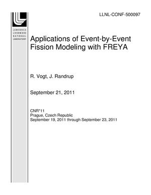 Primary view of object titled 'Applications of Event-by-Event Fission Modeling with FREYA'.