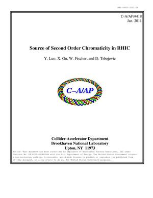 Primary view of object titled 'Source of second order chromaticity in RHIC'.