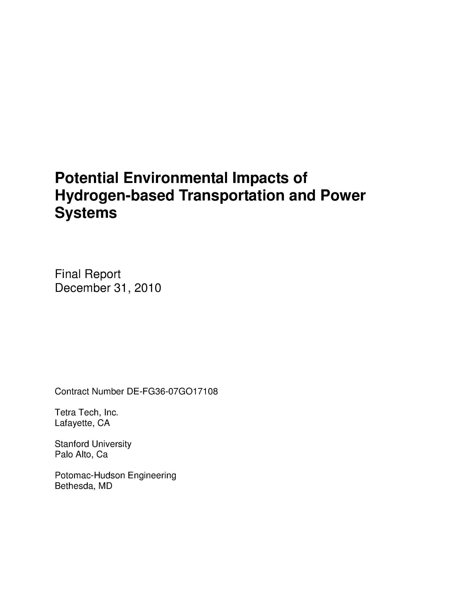Potential Environmental Impacts of Hydrogen-based Transportation and Power Systems                                                                                                      [Sequence #]: 1 of 244
