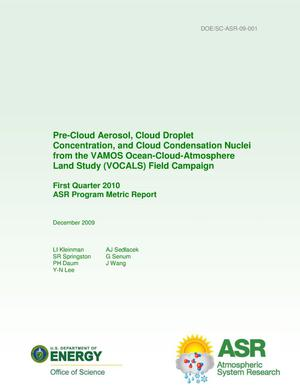 Primary view of object titled 'Pre-Cloud Aerosol, Cloud Droplet Concentration, and Cloud Condensation Nuclei from the VAMOS Ocean-Cloud-Atmosphere Land Study (VOCALS) Field Campaign First Quarter 2010 ASR Program Metric Report'.