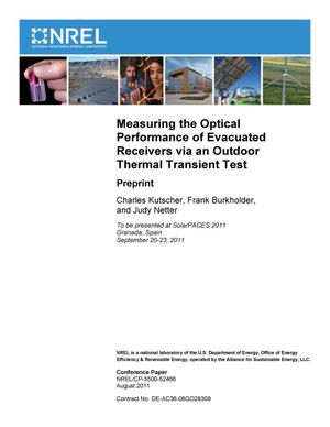 Primary view of object titled 'Measuring the Optical Performance of Evacuated Receivers via an Outdoor Thermal Transient Test: Preprint'.
