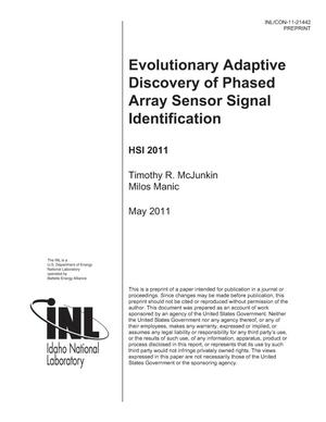Primary view of object titled 'Evolutionary Adaptive Discovery of Phased Array Sensor Signal Identification'.