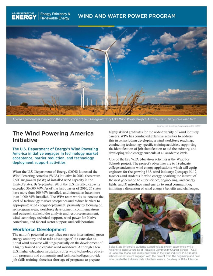 Wind Powering America Initiative (Fact Sheet) - Digital Library