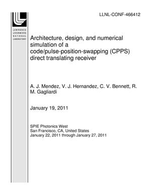 Primary view of object titled 'Architecture, design, and numerical simulation of a code/pulse-position-swapping (CPPS) direct translating receiver'.