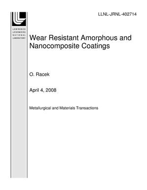 Primary view of object titled 'Wear Resistant Amorphous and Nanocomposite Coatings'.