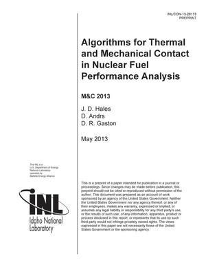 Primary view of object titled 'ALGORITHMS FOR THERMAL AND MECHANICAL CONTACT IN N'.