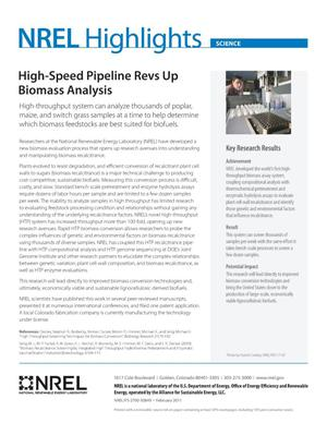 Primary view of object titled 'High-Speed Pipeline Revs Up Biomass Analysis (Fact Sheet)'.