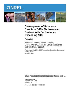 Primary view of object titled 'Development of Substrate Structure CdTe Photovoltaic Devices with Performance Exceeding 10%: Preprint'.