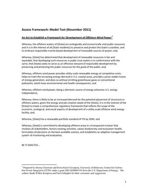 Primary view of object titled 'Access Framework: Model Text (November 2011): An Act to Establish a Framework for Development of Offshore Wind Power'.