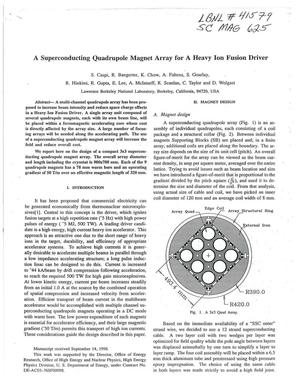 Primary view of object titled 'A superconducting quadrupole magnet array for a heavy ion fusion driver'.