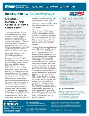 Primary view of object titled 'Evaluation of Humidity Control Options in Hot-Humid Climate Homes (Fact Sheet)'.