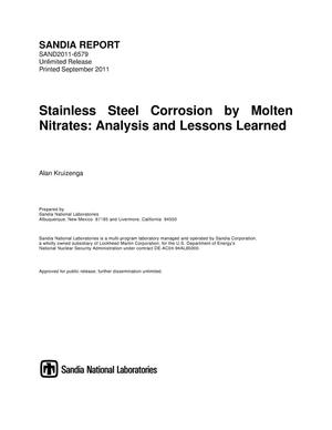 Primary view of object titled 'Stainless steel corrosion by molten nitrates : analysis and lessons learned.'.