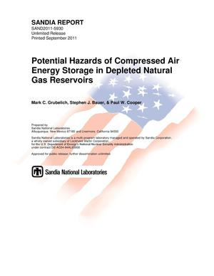 Primary view of object titled 'Potential hazards of compressed air energy storage in depleted natural gas reservoirs.'.