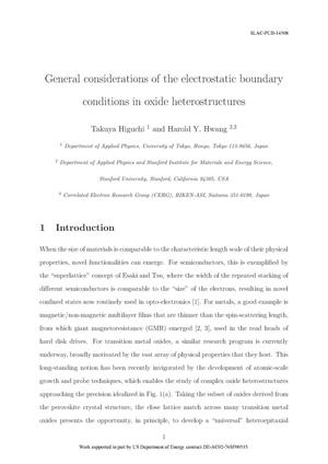 Primary view of object titled 'General Considerations of the Electrostatic Boundary Conditions in Oxide Heterostructures'.