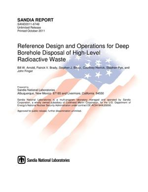Primary view of object titled 'Reference design and operations for deep borehole disposal of high-level radioactive waste.'.