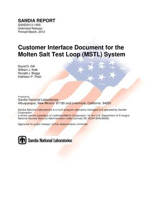 Primary view of object titled 'Customer interface document for the Molten Salt Test Loop (MSTL) system.'.