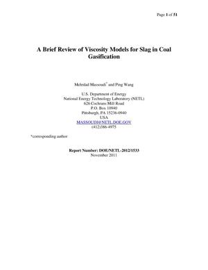 Primary view of object titled 'A Brief Review of Viscosity Models for Slag in Coal Gasification'.