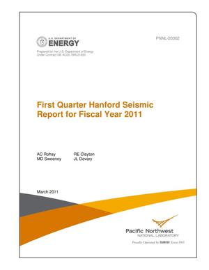 Primary view of object titled 'First Quarter Hanford Seismic Report for Fiscal Year 2011'.