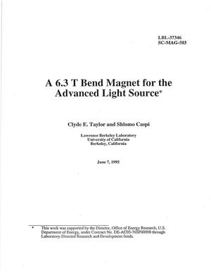 Primary view of object titled 'A 6.3 T Bend Magnet for the Advanced Light Source'.