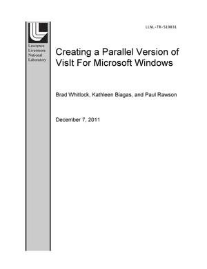 Primary view of object titled 'Creating a Parallel Version of VisIt for Microsoft Windows'.