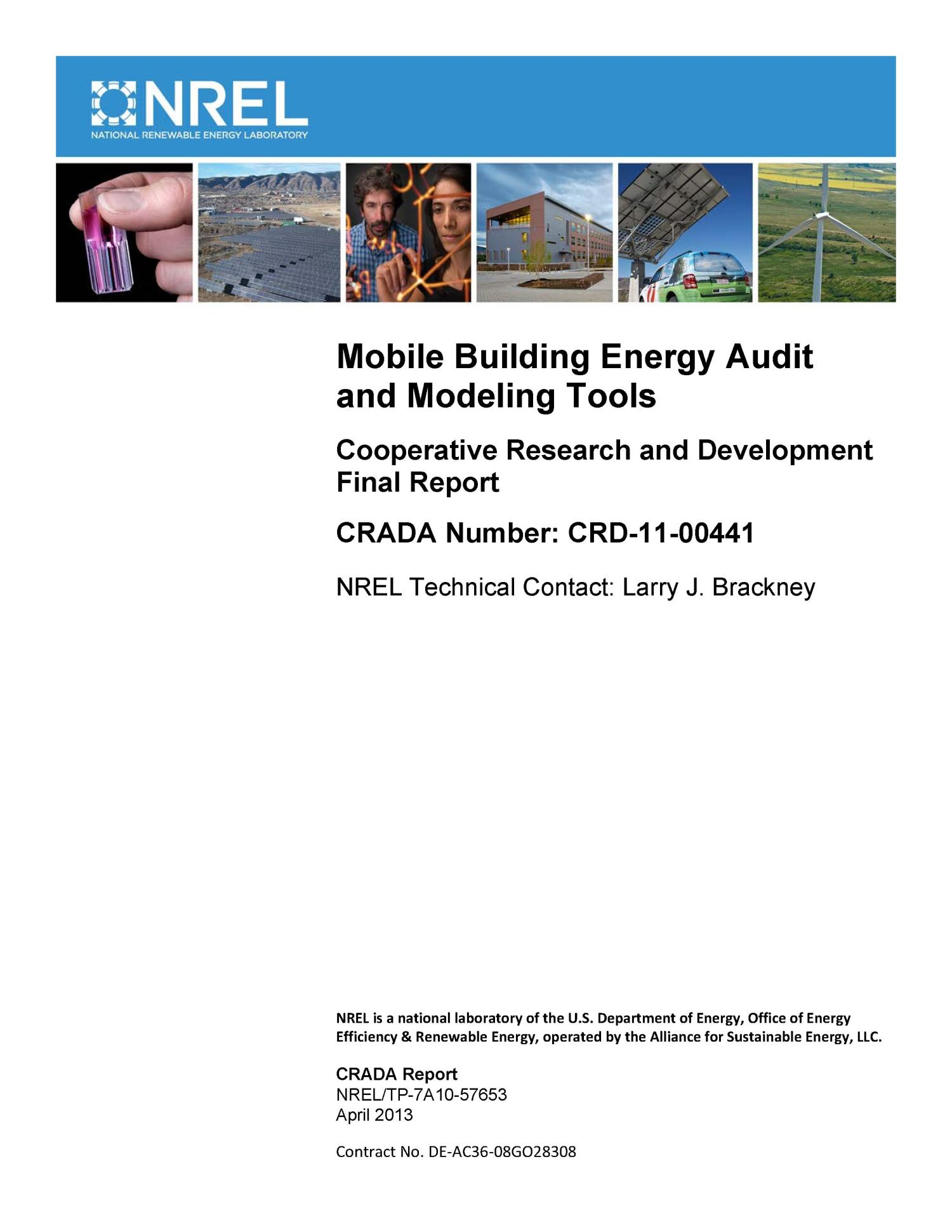 Mobile Building Energy Audit And Modeling Tools Cooperative Research And Development Final Report Crada Number Crd 11 00441 Unt Digital Library