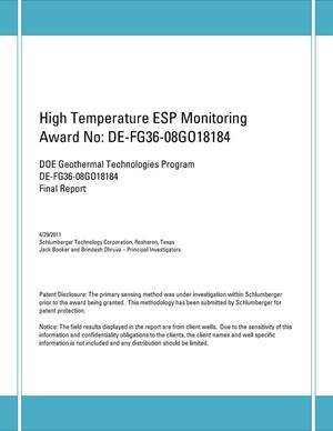 Primary view of object titled 'High Temperature ESP Monitoring'.