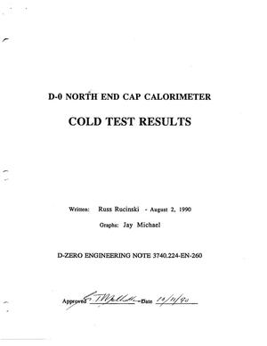 Primary view of object titled 'D-0 North End Cap Calorimeter Cold Test Results'.