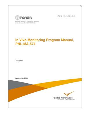 Primary view of object titled 'In Vivo Monitoring Program Manual, PNL-MA-574, Rev 5.1'.